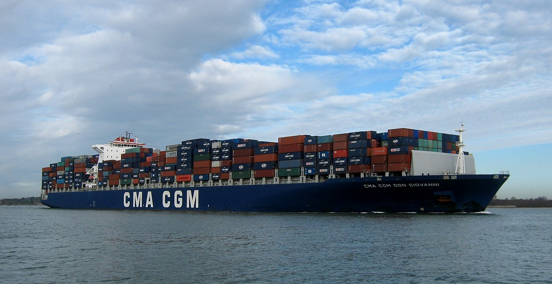 CMA CGM past Fawley